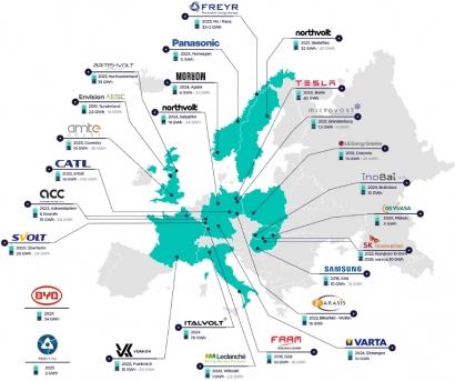Este es el mapa europeo de las gigafactorías de baterías para vehículo eléctrico