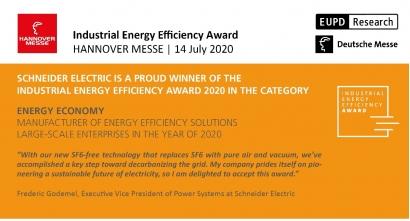 Schneider Electric, premio en Hannover Messe por su solución SM AirSeT que descarboniza la red