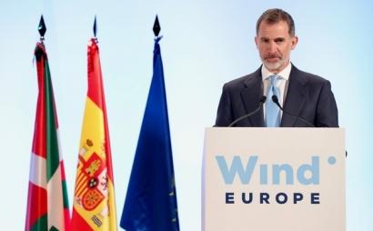 El rey Felipe VI inaugura en Bilbao la gran feria eólica europea, WindEurope