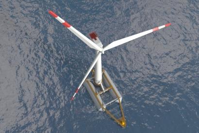 Eólica marina Marca España: aerogeneradores de 15 megavatios sobre plataformas flotantes frente a las costas de Bilbao