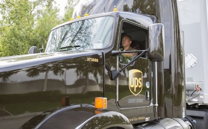 La flota de UPS incluye vehículos de gas natural licuado, gas natural comprimido y propano