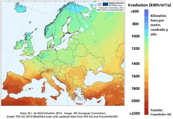 mapa radiación solar europa