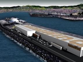 La consejera vasca de Desarrollo Económico coloca en el Puerto de Bilbao la primera piedra de la súperfábrica de Haizea Wind
