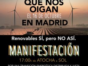 Aliente convoca una gran manifestación en Madrid en contra de los macroproyectos de renovables