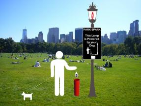 Alumbrado público con el biogás de excrementos de perros