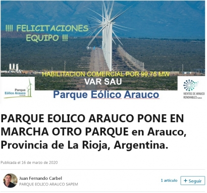La Rioja: Entra en operaciones un parque eólico de 100 MW