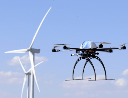 Aracnocóptero, el drone que revisa los aerogeneradores