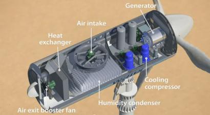 El aerogenerador que produce agua a partir del viento
