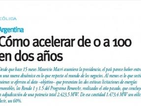 ARGENTINA: Nuevos vientos en la eólica o cómo acelerar de 0 a 100 en dos años