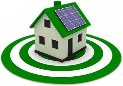 ilustración casa eficiente con paneles solares en el tejado