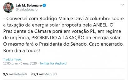 """El presidente Bolsonaro se opone al """"impuesto al sol"""" en la generación distribuida"""