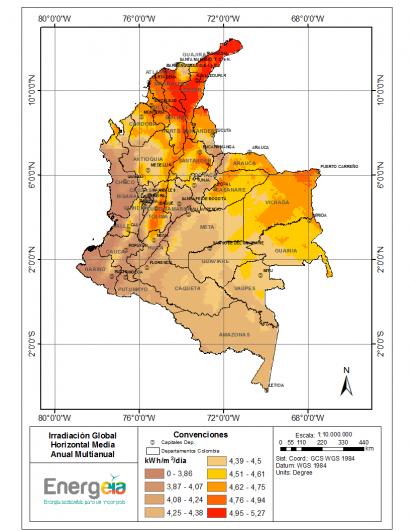 COLOMBIA: Desarrollan un atlas de radiación solar que se actualiza mensualmente