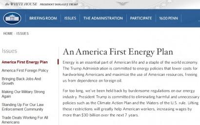 EEUU: Temores confirmados: El plan energético de Trump no alude a las renovables y pone el foco en el petróleo y el gas de esquisto