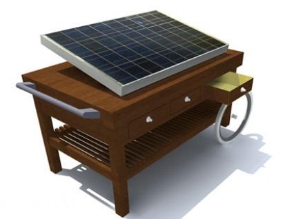 Restaurante con terraza y … cargador solar para móviles