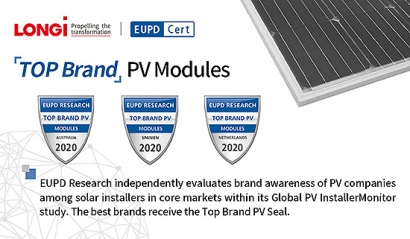 "LONGi recibe el sello ""Top Brand PV 2020"" de EuPD Research"