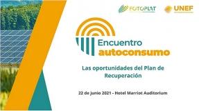 UNEF celebra el 22 de junio un encuentro sobre las oportunidades del plan de recuperación para el autoconsumo