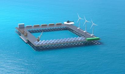 Olas, viento y fotovoltaica, todo a una en una pionera plataforma híbrida oceánica flotante