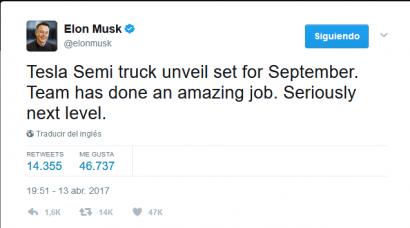 EEUU: Elon Musk anuncia que en septiembre se conocerá el camión articulado Tesla