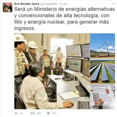 """BOLIVIA: Evo Morales crea un ministerio para que su país sea el """"centro energético"""" de la región"""