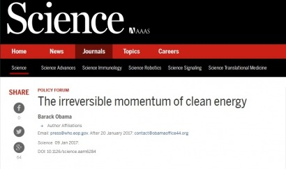 ¿Mensaje a Trump? Obama publica un artículo científico en el que defiende a las energías limpias