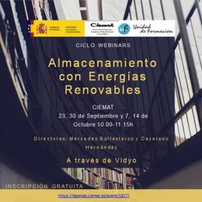 El Ciemat organiza un webinar sobre almacenamiento con renovables
