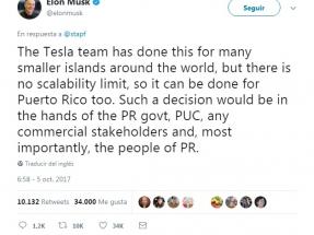 Huracán María: Elon Musk dice que Tesla podría ayudar a recuperar el sistema eléctrico con fotovoltaica y baterías